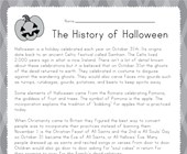 Halloween Reading Worksheet