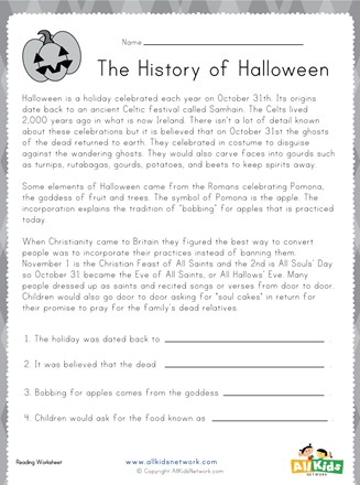 Halloween Reading Worksheet All Kids Network