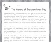 Independence Day Reading Worksheet