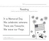 Memorial Day Reading Comprehension Worksheet