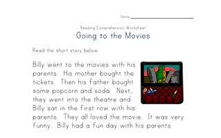 reading comprehension worksheet - going to the movies