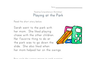 reading comprehension worksheet - going to the park