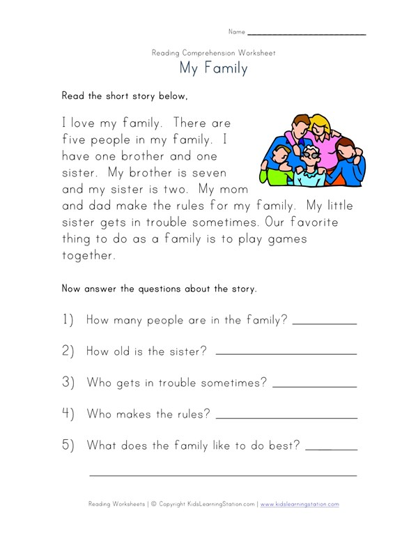 Reading Comprehension Worksheet - My Family | All Kids Network