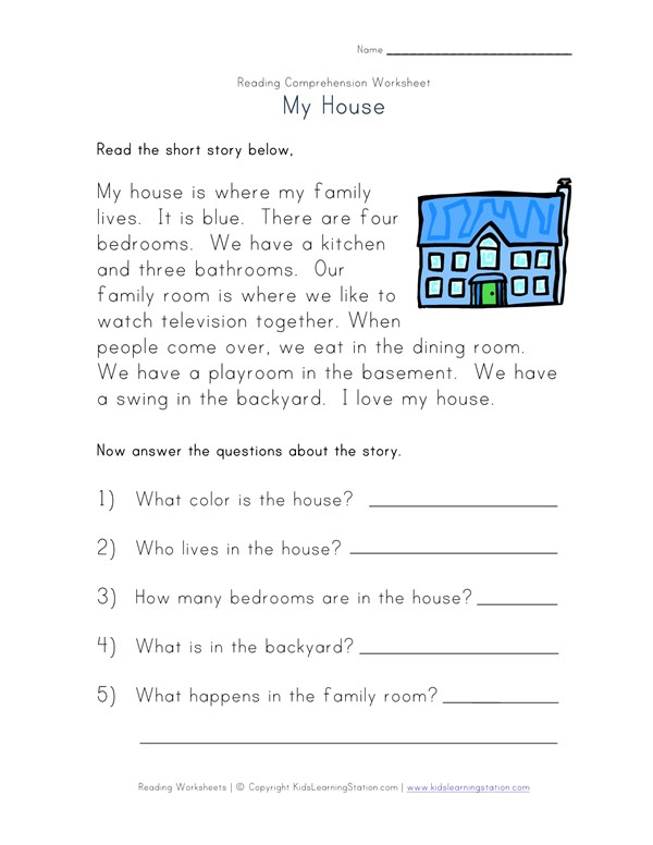 Reading Comprehension Worksheet - My house | All Kids Network