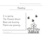 Spring Reading Comprehension Worksheet