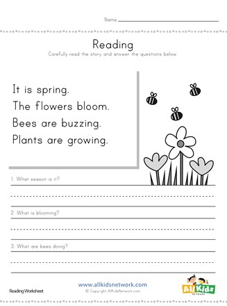 Spring Reading Comprehension Worksheet | All Kids Network