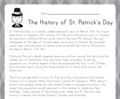 St. Patrick's Day Reading Worksheet