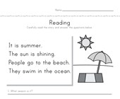 Summer Reading Comprehension Worksheet