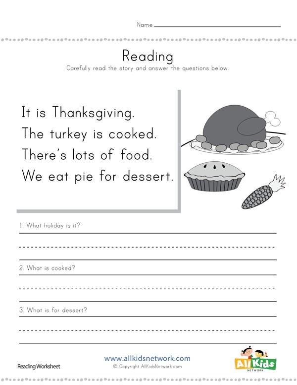 Thanksgiving reading comprehension worksheet all kids network ibookread Download