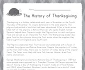 Thanksgiving Reading Worksheet