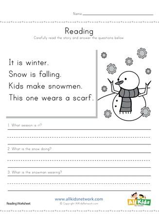 Winter Reading Comprehension Worksheet All Kids Network