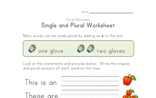 single plural worksheet