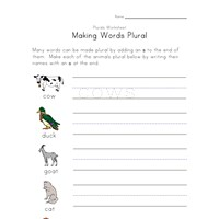 plural animals worksheet