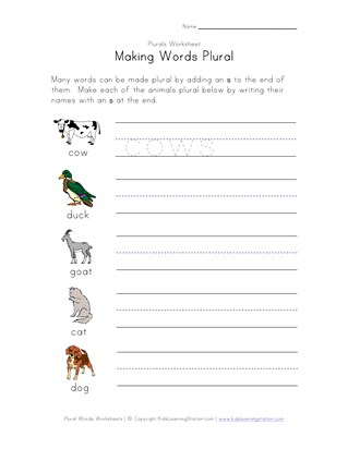 8 Great Free Plural Worksheets | All Kids Network