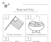 4th of July Read and Color Worksheet