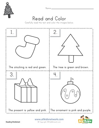 Christmas Read and Color Worksheet