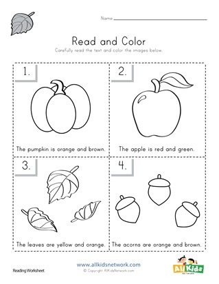 Fall Read and Color Worksheet