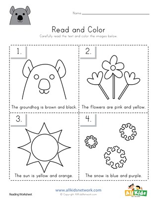 Groundhog Day Read and Color Worksheet