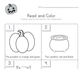 Halloween Read and Color Worksheet