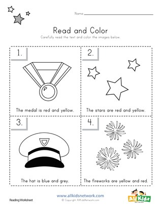 Memorial Day Read and Color Worksheet