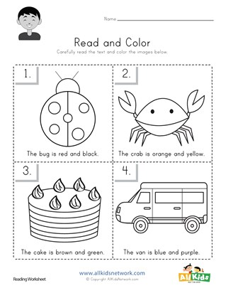 Read and Color Worksheet