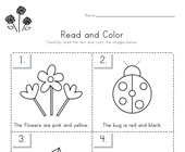 Spring Read and Color Worksheet