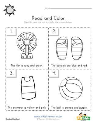Summer Read and Color Worksheet
