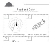 Thanksgiving Read and Color Worksheet