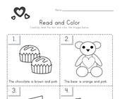 Valentine's Day Read and Color Worksheet