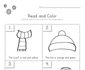 Winter Read and Color Worksheet