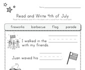 4th of July Read and Write Worksheet