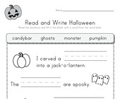 Halloween Read and Write Worksheet