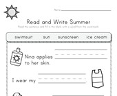 Summer Read and Write Worksheet