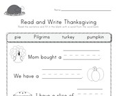 Thanksgiving Read and Write Worksheet
