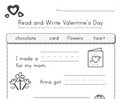 Valentine's Day Read and Write Worksheet