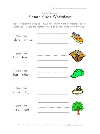Picture Clues Worksheet | All Kids Network