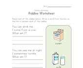 riddles worksheet
