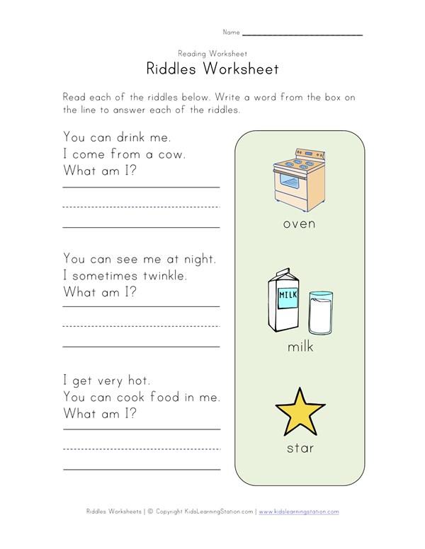 Riddles Worksheet | All Kids Network