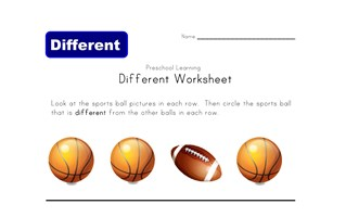 different sport worksheet