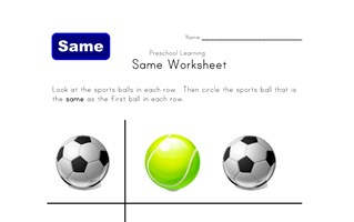 same sport worksheet