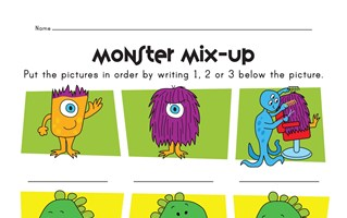monsters dinosaurs and robots story sequence worksheet