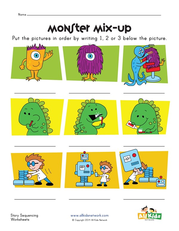Monsters Dinosaurs And Robots Story Sequence Worksheet All Kids