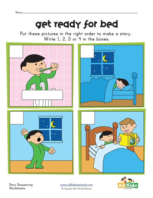 Sequencing Worksheet - Bed Time | All Kids Network