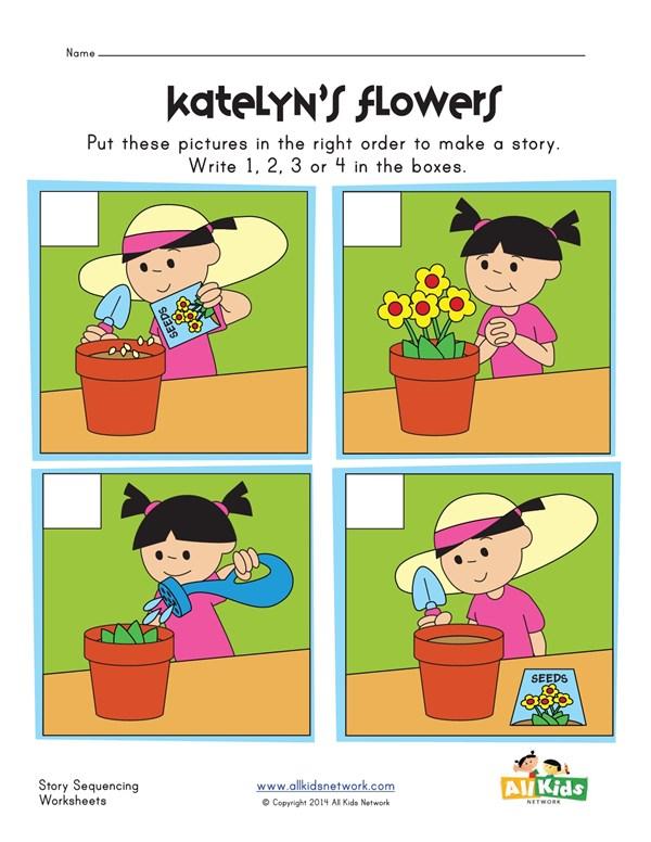 Sequencing Worksheet - Flowers | All Kids Network