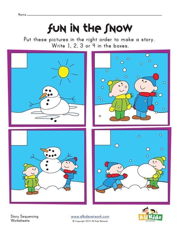Sequencing Worksheet - Snowman | All Kids Network
