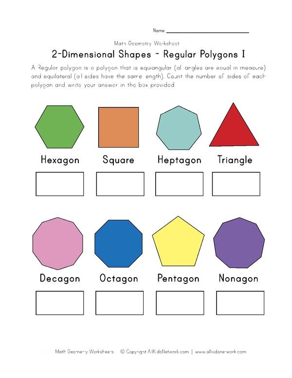 Regular Polygons Worksheet 1 | All Kids Network