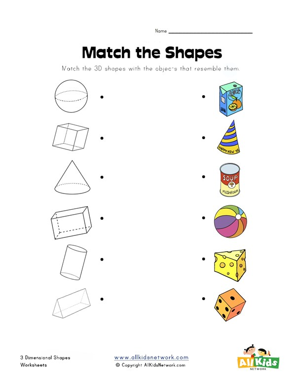 worksheet on nets of 3d shapes for class 6 pdf
