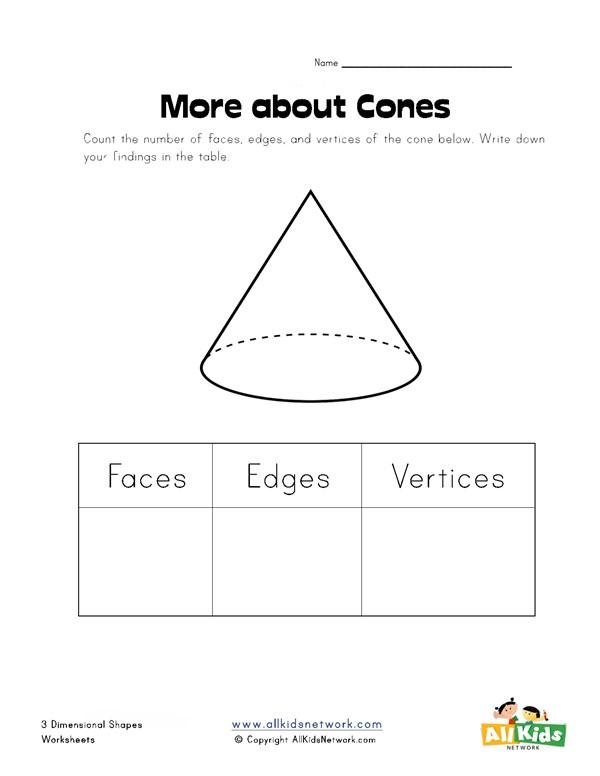 Cone Properties Worksheet All Kids Network