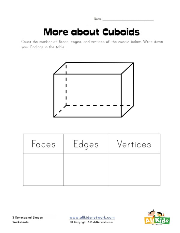 Cuboid Worksheet: cuboid properties worksheet all kids work,