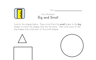 black and white big and small worksheet